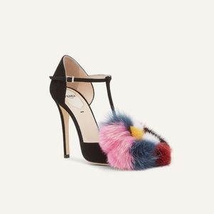 Fendi Flowerland Mink & Fox Fur Trim T-Strap Heels